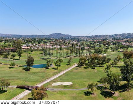 Aerial View Of Golf In Upscale Residential Neighborhood, Rancho Bernardo, San Diego County, Californ
