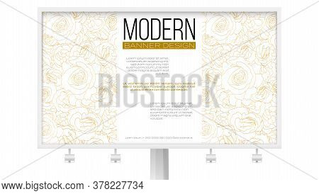 Vector Pattern From Roses Buds. Flower Buds In Outline Style. Ad Banner On Billboard