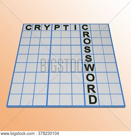 3d Illustration Of Cryptic Crossword Board Game
