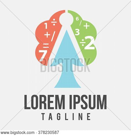 Tree With Number And Mathematics Symbol Icon. Colorful Design Tree Icon Symbol. Vector Illustration