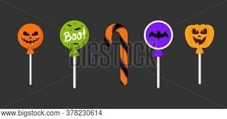 Halloween Candy. Sweet Candies, Scary Bat Lollipop And Kids Sweets Liquorice Butterscotch, Jelly, Oc