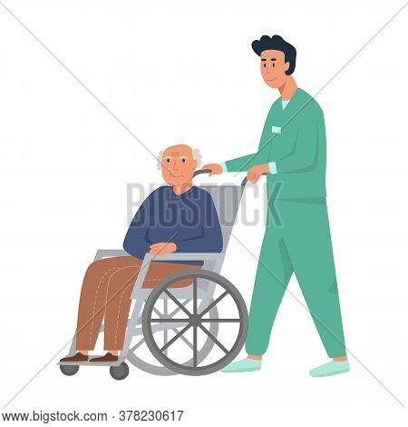 Male Nurse With Old Man On Wheelchair. Grandpa Sitting In Wheelchair. Retired Elderly Senior Age Man