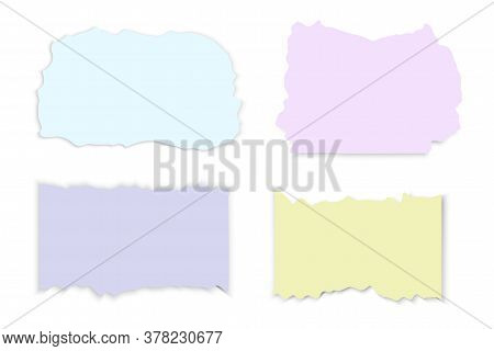 Torn Pieces Of Paper. Vector Of Torn Notebook Sheets. Grunge Style Paper With A Rough Border.