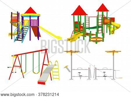 Children's Playground With Slide, Swings, Sandbox And Other Elements. Amusement Park For Children. V
