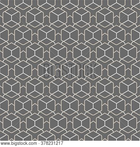 Repetitive East Vector Hex, Grid Texture. Repeat Fabric Graphic Hexagon Shapes Pattern. Seamless Fas