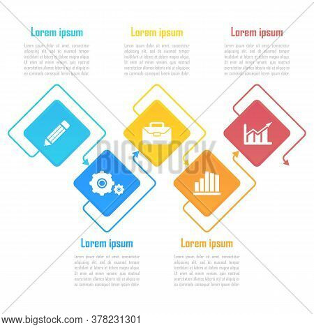 Template Infographic Vector With Arrows And 5 Steps Or Options. Infographics For Business Concept Ca