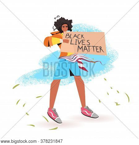 African American Woman Holding Black Lives Matter Banner Campaign Against Racial Discrimination Of D