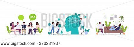 Set Upset People Visiting Psychologist Depression Problems Stress Psychotherapy Session Concept Hori