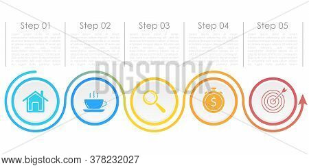 Template Circle Infographic Vector With Arrows And 5 Steps Or Options. Infographics For Business Con