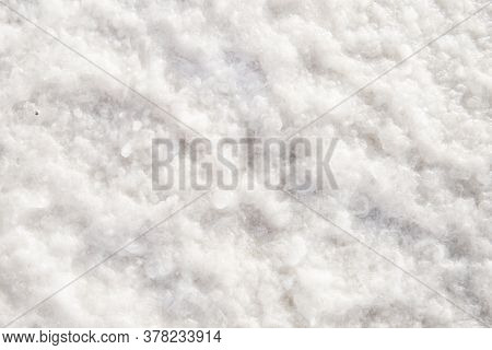 Coarse Salt Detailed Texture Background Macro Closeup. Salt Lake Background.
