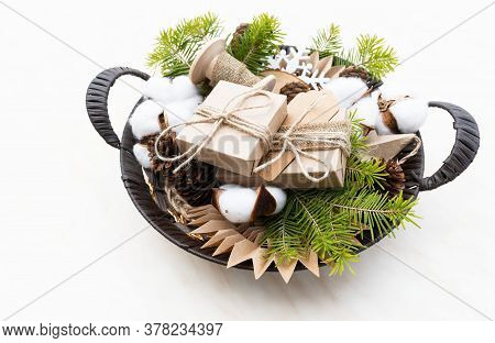 Hand Crafted Gifts With Natural Christmas Decorations Without Plastic. Wicker Basket