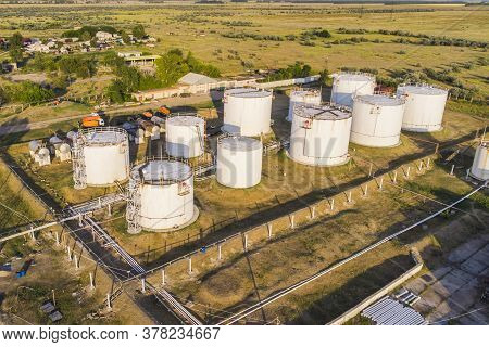 Oil Refinery And Petrochemical Plant Industrial Working, Aerial View Oil And Gas Refinery At Day. To