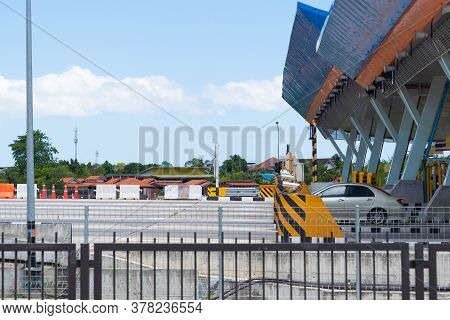 Thailand Expressway Toll Station, With Blue Sky Background.