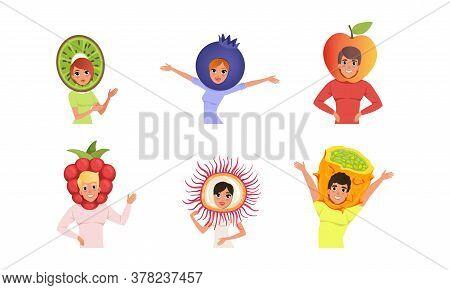 Happy People In Various Fruit Hats Set. Smiling Men And Women Wearing As Kiwi, Blueberry, Apple, Ras