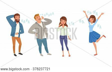 Happy People Laughing With Positive Humor Set Cartoon Style Vector Illustration