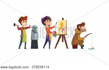 Male Creative Occupation Set, Sculptor, Artist, Fisherman Cartoon Style Vector Illustration