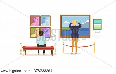 Exhibition Visitors Viewing Photos On Wall, People Visiting Modern Art Exhibition Gallery Cartoon St