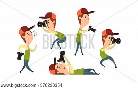 Paparazzi Photographing With Camera Set, Funny Photographer Cartoon Character Taking Photos Vector I
