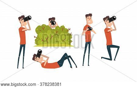 Paparazzi Taking Photo With Digital Camera Set, Photographer Cartoon Character Shooting With Camera,