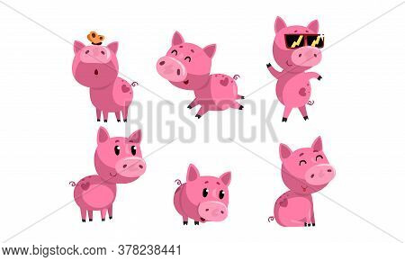 Cute Funny Piglets Set, Adorable Piggies Cartoon Characters In Different Poses Vector Illustration