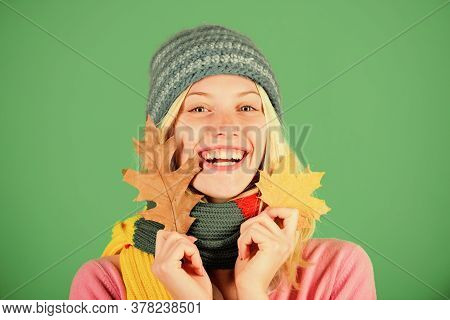 Autumn Skincare Tips. Healthy Skin. Skincare And Beauty Tips. Woman Cute Face Wear Knitted Hat Hold