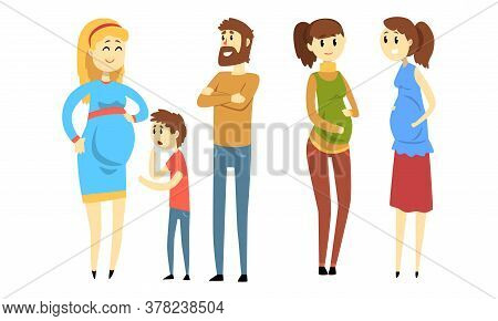 Happy Women Expecting Babies Set, Pregnant Women Talking Each Other, Family Expecting Their Second C
