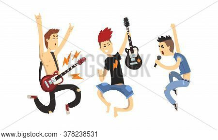 Rock Musicians Characters Set, Musical Band Members Playing Guitar And Singing With Microphone Carto