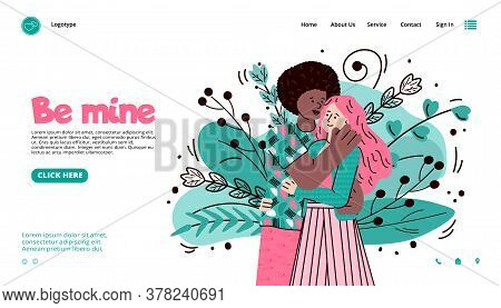 Virtual Dating Website Interface Template With Header And Hugging Multiracial Couple, Cartoon Vector