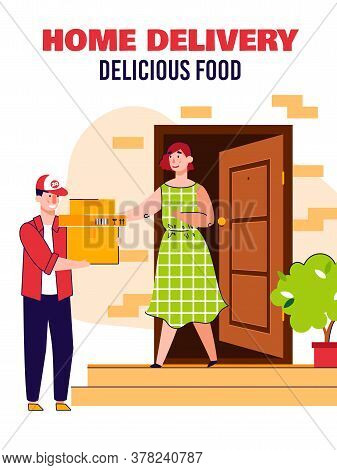 Home Food Delivery Poster With Courier Man Delivering Cardboard Box Packages To Woman At House Door