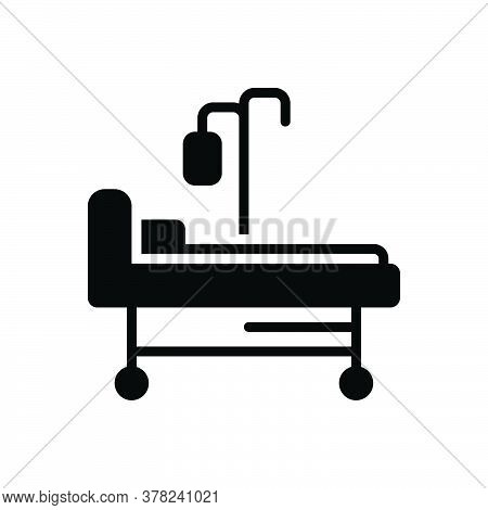 Black Solid Icon For Hospital-bed Hospital-ward Stretcher Treatment Bed Hospital Patient Pillow