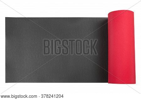 Fitness And Yoga Mat Or Hiking Mat, Red And Black, On White Background, Isolate