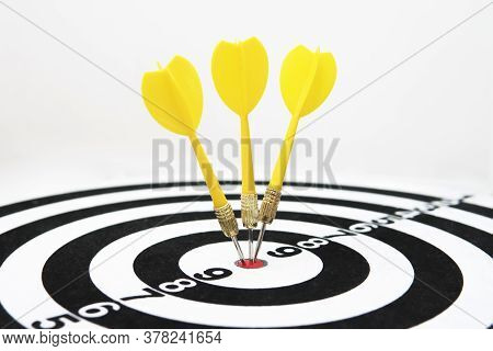 Close Up Shot Of A Dart Board. Darts Arrow Missing The Target On A Dart Board During The Game. Darts