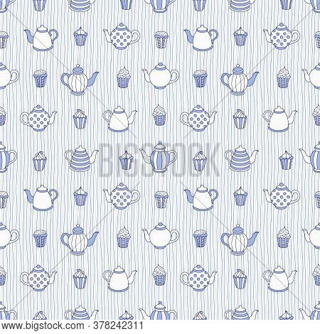 Teapots And Muffins Hand Drawn Pattern. Monochrome Colors. Vector Seamless Background.