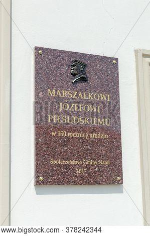 Narol, Poland - June 12, 2020: Plaque Commemorating Marshal Jozef Pilsudski.