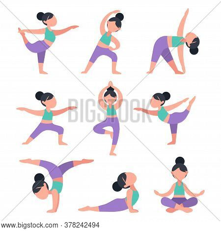 Set Of Flat Girls Doing Yoga. Bundle Of Women In Different Poses For Training. Exercises For Health,