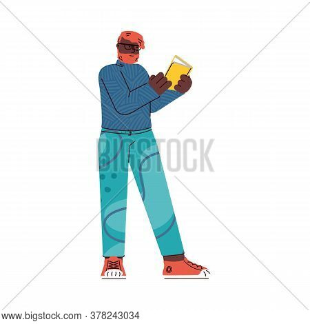 Man Cartoon Character Standing In Queue Or Waiting Line, Flat Vector Illustration Isolated On White