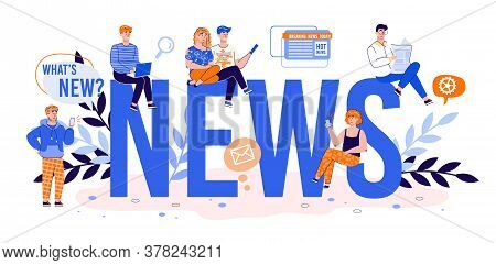 News Big Word And Tiny People Characters Publishing Or Searching News In Social Media And Internet,
