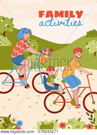 Family Activities Poster With Family Riding Bike Cartoon Vector Illustration. Parents And Children C
