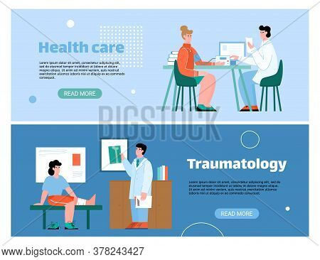 Medical Healthcare Horizontal Banners With Patients On Doctors Appointment, Flat Cartoon Vector Illu