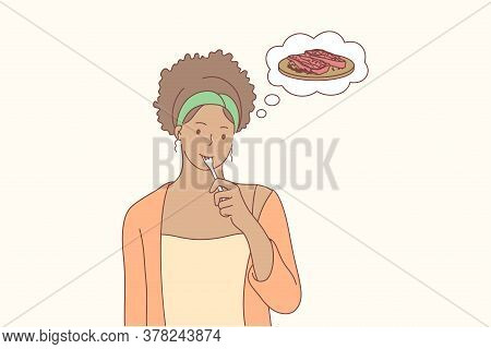 Food, Cooking, Hunger, Thinking Concept. Young Pensive Thoughtful African American Woman Or Girl Dre