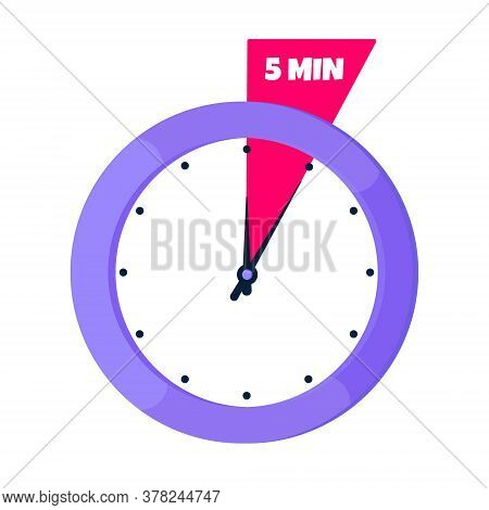Five Minutes On Analog Clock Face Flat Style Design Vector Illustration Icon Sign Isolated On White