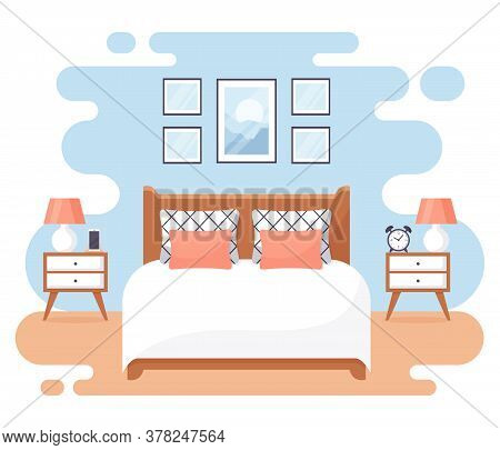 Bedroom Interior. Modern Banner. Vector. Design Of A Cozy Room With Double Bed, Bedside Tables, And