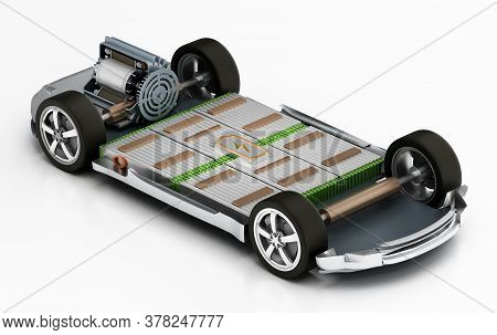 Fictitious Electric Car Chassis With Electric Engine And Batteries. 3d Illustration.