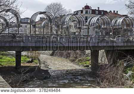 Blagoevgrad, Bulgaria - March 13, 2018:  Landscape Of The River Bistritsa And The Beautiful Metal Br