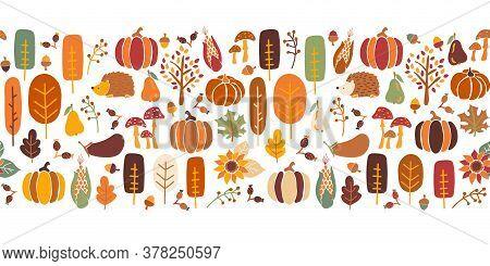 Thanksgiving Seamless Vector Border. Seamless Autumn Pattern Corn Tree Pumpkin Pear Sunflower Acorn