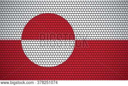 Abstract Flag Of Greenland Made Of Circles. Greenlander Flag Designed With Colored Dots Giving It A