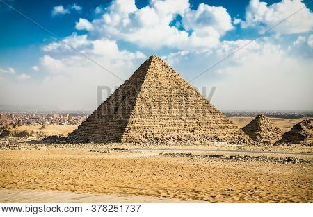 Panaromic view of Egyptian pyramids in Giza,  Egypt.