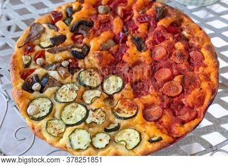Homemade Pizza. A Wonderful Mix Of Flavors And Colors. A Feast For The Eyes And Palate