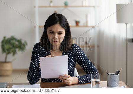 Pensive Asian Girl Read Post Paper Letter Correspondence