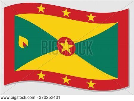 Waving Flag Of Grenada Vector Graphic. Waving Grenadian Flag Illustration. Grenada Country Flag Wavi